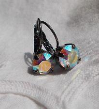 8mm Cup Chain AURORA BOREALIS/GUN METAL Golf EARRINGS made w/Swarovski Crystals