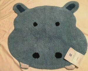 "Saturday Knight Limited 'Safari' Hippo Bath Rug,100% Cotton; Blue, 25"" x 25.25"""