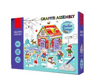 Childrens Kids DIY Graffitti Build Colour Design Cardboard Play Houses Xmas Gift