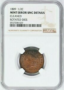 1809 1/2C Mint error NGC UNC Details Rotated Dies Cleaned 1058-25 99c NO RESERVE