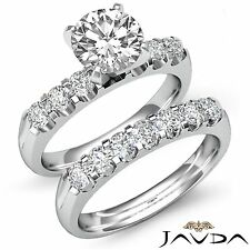 Bridal Set Ring Gia F Vvs2 Platinum 1.8ct Round Shared Prong Diamond Wedding