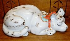 "Large Porcelain Sleeping Cat Figurine / State - 13"" - 6132"