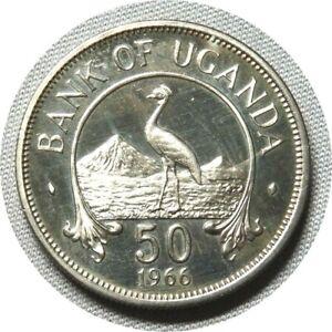 elf Uganda 50 Cents 1966 Proof Crowned Crane Bird