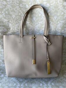 VINCE CAMUTO Saffiano Leather Tote Bag Leila Driftwood Gold Tone Hardware