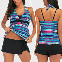 Womens Tummy Control Swimsuit Tankini Swimwear Bathing Suit Two-Piece Striped