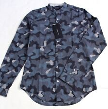 Zara Man Slim Fit Camo Army Style Long Sleeve Button Down High Neck Shirt Size S