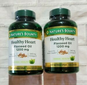LOT OF 2 Nature's Bounty Healthy Heart 1200mg Flaxseed Oil  EXP 2022