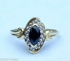 Ladies Marquise Blue Sapphire Ring w/ 14 Genuine Diamonds - 10k Yellow Gold