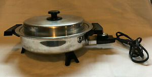 "Lifetime Webalco Stainless Steel 11"" Electric Skillet Model 7209 with lid"