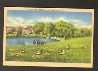 1945 Postmarked Postcard Greetings from Lake Mahopac New York NY Farm Pond