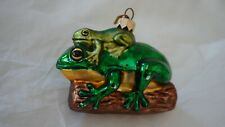 Vintage Double Frogs on The Log Glass Ornament  Made in Poland