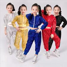 Children's New Hip-Hop Jazz Sequins Performance Costumes Dancewear Top&Pants