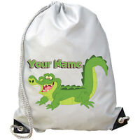 CROCODILE PERSONALISED GYM / PE / DANCE / SWIMMING BAG -GREAT KIDS GIFT & NAMED