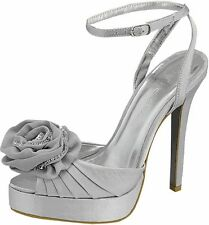 Sz 8.5 Silver Sandals Open Toe Sexy Women Pump Platform Party Wedding High Heels