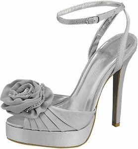 Sz 8.5 Silver Sandals Open Toe Sexy Women Pump Platform Party Wedding High Heels