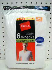 6 Men's Hanes Tagless Cotton V-Neck Tee Shirts Medium 38-40