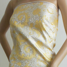 140cm wide Chinese brocade fabric white golden phoenix tail by meter-cbs-536