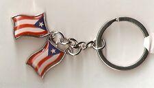 """Puerto Rico Double """"Wavy Flag"""" Key Chain"""