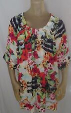 Westbound WOMEN'S TOP Short Sleeve Tropic Floral 100% Rayon Multi XL NWT