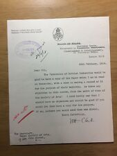 Sir William Henry Clark - 1st British High Commissioner to Canada - 1918 letter
