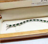 Verde Esmeralda Y Diamantes Plata Pulsera de tenis Cumpleaños Regalos para ella J594