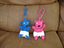 Carefully Hand Knitted Teddy Dummy/Pacifier Holders Pink or Blue