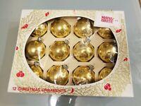 "Vintage Box of 12 Shiny Brite Gold Glass Ball Christmas Tree Ornaments EUC 2.5"""