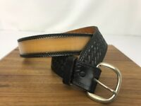 Vtg Biker Belt Rugged Western Casual Black Tan Leather Cowboy Women's Men's S 30