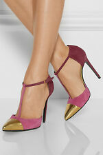 Gucci Pink Gold Cap Toe Suede Pumps Shoes Size 38