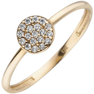 Damen Ring 333 Gold Gelbgold 19 Zirkonia Goldring