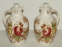 Vintage Nasco Rose Arbor Oil & Vinegar Cruets With Tops