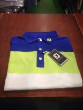Footjoy Athletic Fit Golf Shirt. White/blue/lime. Large. NEW