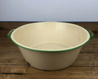 Vintage Graniteware Enamelware Cream And Green Wash Basin 16 Inch