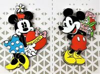 Disney Mickey and Minnie Mouse Valentine Couples Enamel Pin Set Heart Flowers