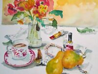 Flowers fruit still life fruit pear cup tea watercolor painting Delilah art