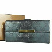 Auth GUCCI GG Guccissima Logos Leather Bifold Long Wallet Purse Italy F/S 16833b