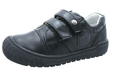 NEW BOYS BLACK LEATHER LINED TOE CAP STRAPS SCHOOL SHOES TRAINERS KIDS SIZES UK