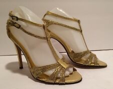 BCBG Max Azria Sandals Heels T-strap Embossed Leather Glitter Gold 7.5 B Italy