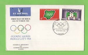 Nigeria 1968  Mexico Olympics set on illustrated First Day Cover Lagos Cancel