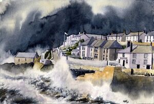 Porthleven Cornwall art print from a Watercolour painting by Alex Pointer