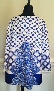 New Chico's Travelers Blue & White Open Front Jacket Crinkle Top Chicos Size 3