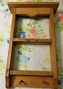 """VINTAGE SOLID WOOD SHELF WITH PEGS 18 1/2"""" H X 9 3/4"""" W"""