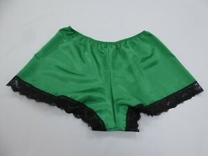 Emerald  Polyester Satin French Knickers in 10/12 with Black  Lace.