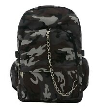 GREY CAMO camouflage Army Backpack Rucksack School College Goth Rock Punk Bag