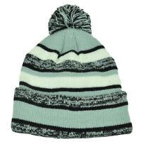 Striped Grey Black Cuffed Knit Beanie Hat Winter Pom Pom Toque Thick Blank Skull