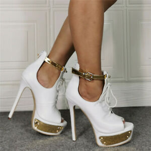 Womens High Platform Ankle Buckle Lace Up Shoes Fashion Peep Toe Party Sandals