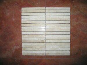 Naturstein Travertin Mosaik Chiaro/White feingeschliffen in 15x1,5x1cm auf Netz