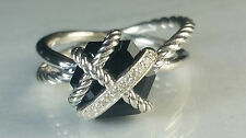 David Yurman Sterling Silver Cable Wrap Black Onyx and Diamond Ring, size 6