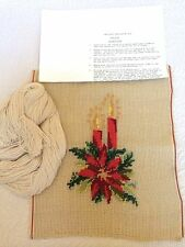 """Christmas Poinsettia & Candles Needlepoint Kit Unworked ~ Appx. 7.5"""" X 9.5"""""""