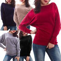 Maglione donna pull maniche pipistrello caldo inverno maglia nuovo 2052
